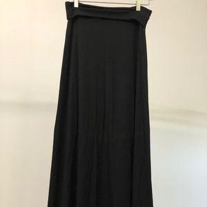 Black foldover maxi skirt
